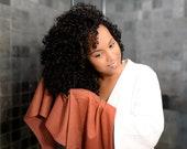T-shirt Hair Towel Wrap Burnt Orange Full Curly Hair