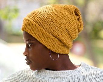 Mustard Satin Lined Knit Beanie Yellow