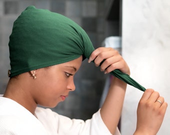 Forest Green T-shirt Hair Towel Wrap Hood Curly Hair Organic Elastic