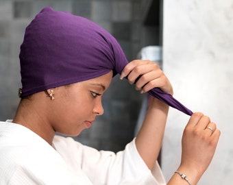 Plum T-shirt Hair Towel Wrap Curly Hair Organic Elastic