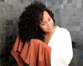 Burnt Orange T-shirt Hair Towel Wrap Full Curly Hair