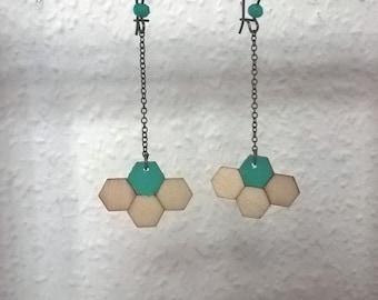 Wood - hexagons earrings