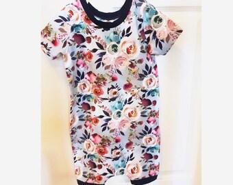 Blue Floral Print harem romper, boho kids clothes, baby girl romper, harem jumpsuit, toddler romper, hipster baby clothes, toddler girl