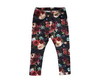 Floral baby leggings, Floral toddler leggings, girls flower leggings, baby girl leggings, spring kids pants, girls yoga leggings, baby pants