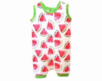Watermelon Print harem shorts romper, boho kids clothes, baby girl romper, harem jumpsuit, toddler romper, hipster baby clothes, trendy baby