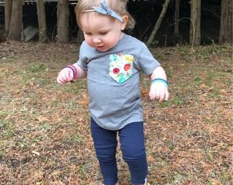 Toddler pocket tshirt, baby tshirt, gender neutral toddler shirt, boys pocket shirt, girls pocket shirt, floral pocket tee, kids pocket tee