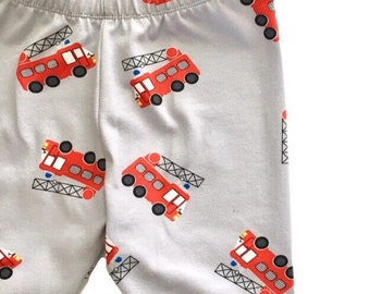 Fire truck baby leggings, fire truck toddler leggings, Boys fireman leggings, baby boy leggings, spring kids pants, fire engine boys legging