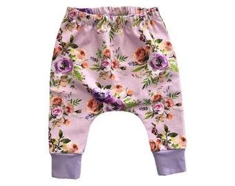 Floral baby harems, Floral toddler harems, girls spring leggings, baby girl harems, coming home outfit, girls yoga leggings,