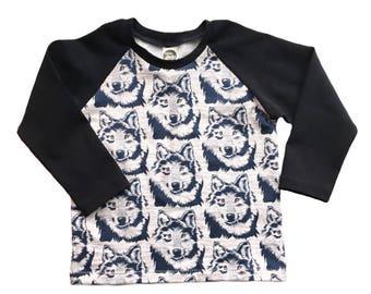 Kids Wolf Raglan, wolf print shirt, animal print baseball tee, toddler raglan shirt, baby wolf clothing, toddler animal print shirt,