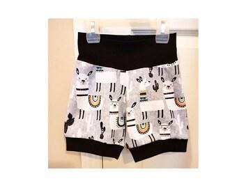 Llama kids Shorts, kids summer clothes, baby shorts, toddler shorts, trendy baby shorts, edgy kids clothes,