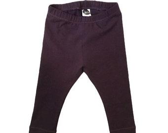Purple Baby leggings,  Maroon baby leggings, baby girl leggings, kids leggings, toddler girl leggings, solid purple toddler leggings,