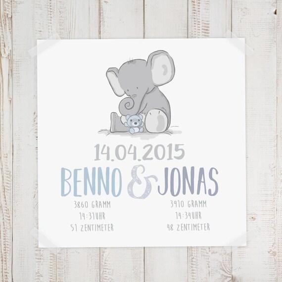 Geburtsdaten Wandbild Zwillinge Benno Jonas