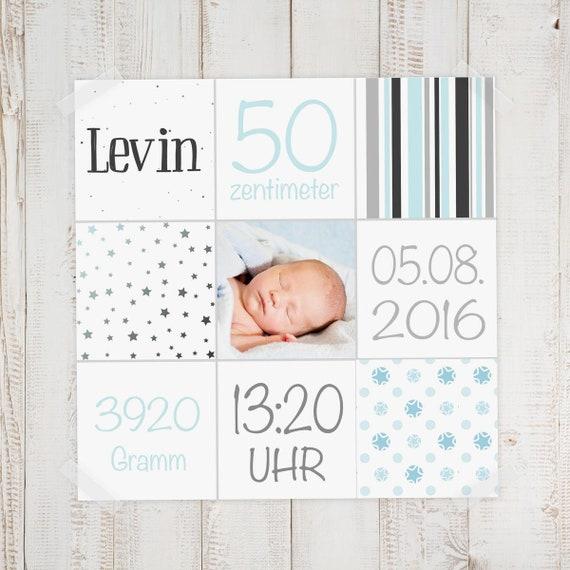 Geburtsbild Geburtsdatenbild Levin Etsy