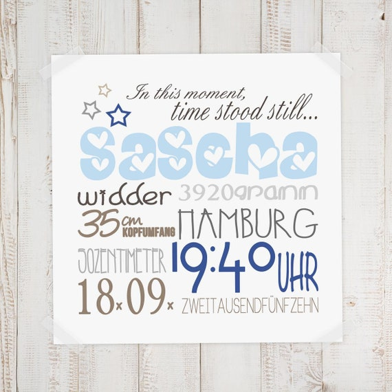 Geburtsbild Geburtsdatenbild Sascha Etsy
