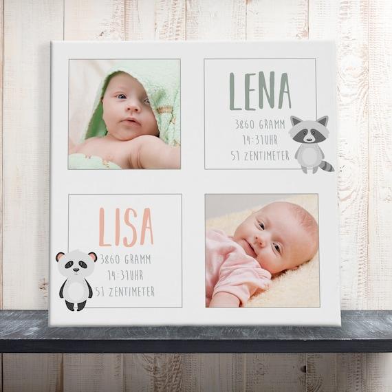 Geburtsdaten Wandbild Zwillinge Lisa Lena
