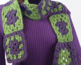B118 crocheted granny square green/purple scarf, handspun merino wool