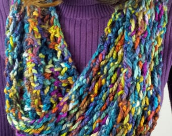 B121 super soft alpaca lacy knitted scarf, blue variegated, continuous loop