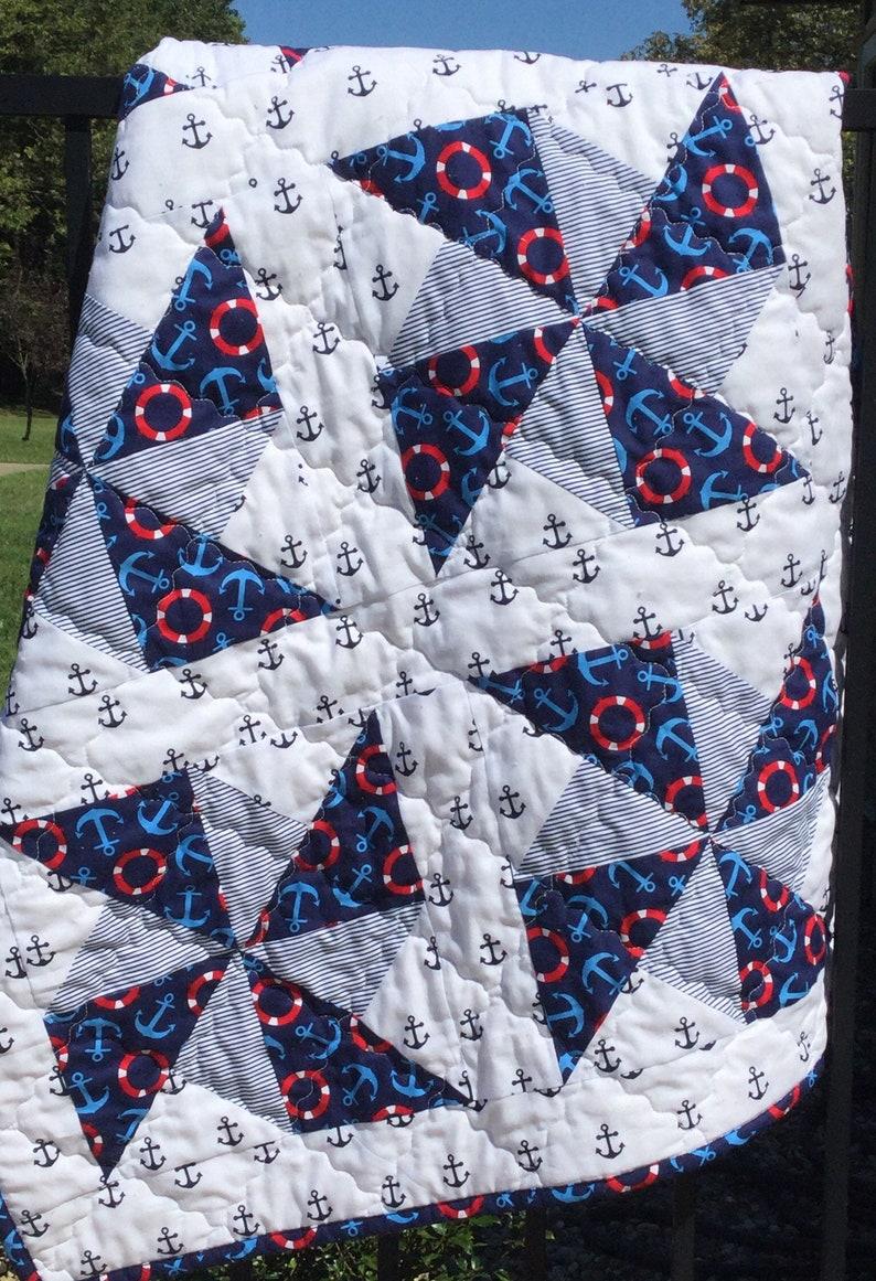 Handmade Pinwheel Crib Quilt Nautical Prints Blue White Etsy