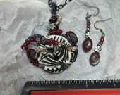 Zebra vintage glass button wired with Czech Glass beads