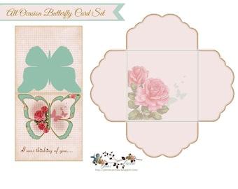 Custom All Ocasion Butterfly Card Set