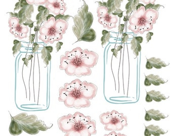 Jar of Roses Decoupage Images  3-D & Hand painted Watercolor