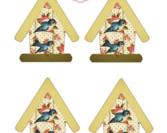 Bird House Tags and Matching Papers