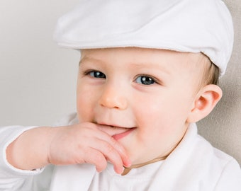 Baby Boy Hats - White French Cotton Newsboy Cap  Miles   7fd80de8a946