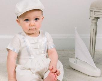 Owen Ivory Linen Jumpsuit, Boys Baptism Outfits, Boys Christening Outfit, Ivory Boys Christening Romper