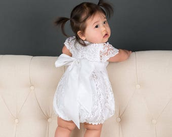 c6a9514721af Lace Baby Romper 'Grace White' | Girls Christening Outfit | Girls Blessing  Outfit | Baby Girl Lace Jumpsuit | White Lace Baby Jumpsuit