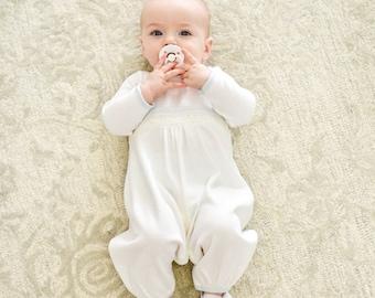 SALE | Baby Boy Christening Romper 'Harrison' | Christening & Baptism Outfits Boy | White Cotton Jumpsuit | Boys Outfits | FINAL SALE
