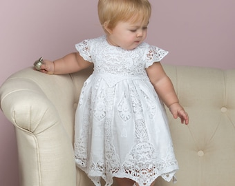 97f89389f672 SALE - White Lace Baby Dress - Girls Blessing Dress - Girls Baptism Dress -  New w/ Small Imperfections - FINAL SALE - White Lace Baby Dress