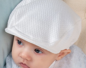 Baby Boy Hats - White French Cotton Newsboy Cap  23d5a042d05