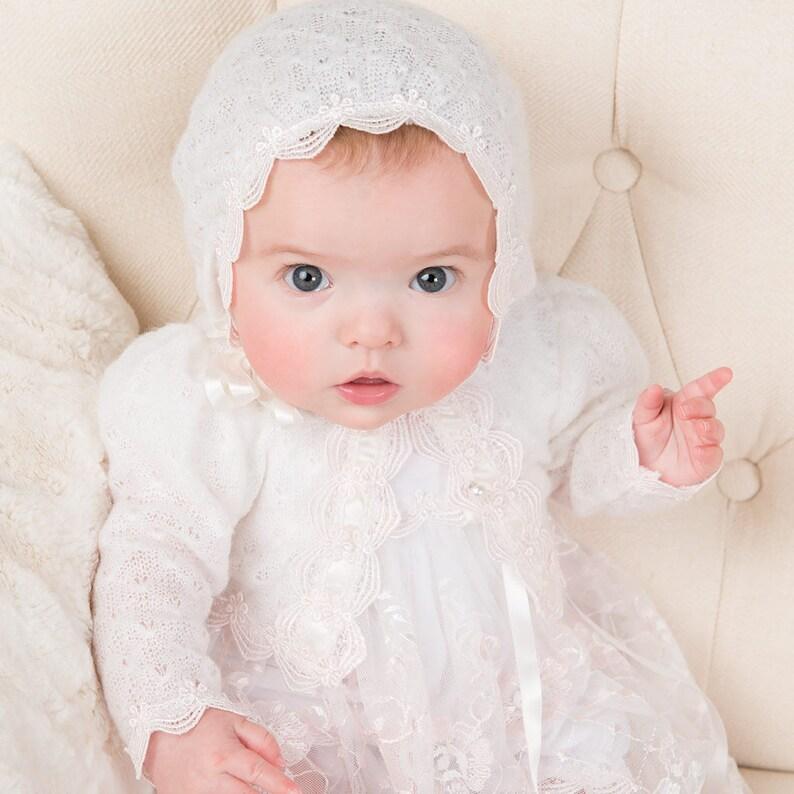Baptism Sweater Newborn Girl Sweater Christening Sweater Baby Girl /'Joli/' Baby Girl Ivory Knit Sweater Pink Lace Baby Girl Sweaters