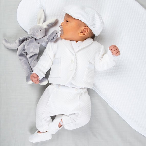 Boys Baptism Outfit White 3 PCS Suit Baby Boy Christening Outfit Toddler Tuxedo