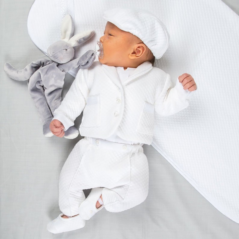efe1d2fc013f Boys Christening Outfit  Elijah  Newborn White