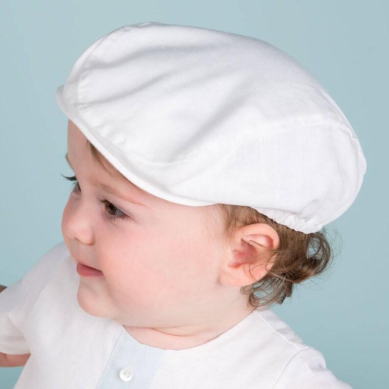 558e2fdf23c Baby Boy Linen Hats White Linen Newsboy Cap  Finn