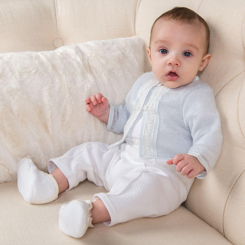 619b027fe06e7 Boys Baptism Outfit 'Jackson'   Boys Knit Baptism Suit   Christening &  Blessing Outfit for Boys   Baby Boys Baptism Outfits