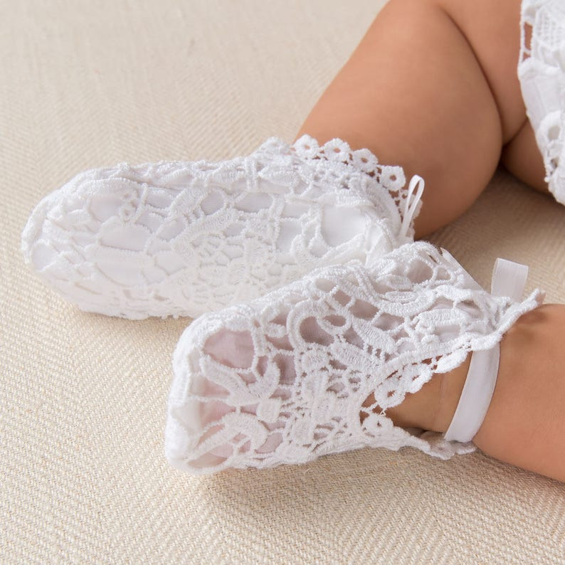 9ef6d996d59ce Baby Girl White Lace Booties 'Grace White' | Baby Girl Lace Booties | White  Lace Crib Shoe | Baby Girl Christening & Baptism | Girls Booties