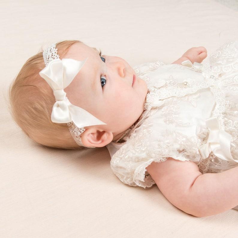 Baptism Headbands Christening Headband for Baby Girl /'Penelope/' Christening Headbands Baby Girl Ivory Lace Headband for Christening