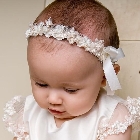 Baby Girls Christening Headband  Leila  Newborn Girl  63640742a5b