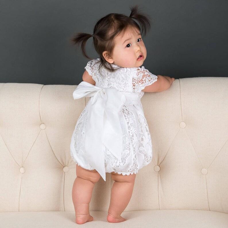 65e1fc0eefc8c Lace Baby Romper 'Grace White' Girls Christening | Etsy