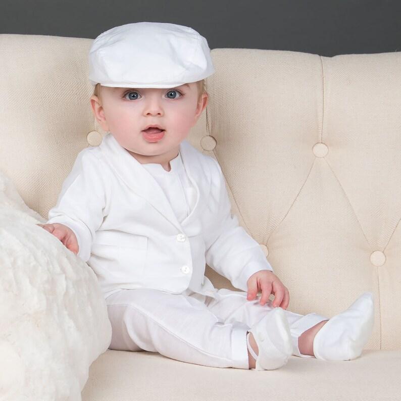 f2baed0dc6245 Elijah Boys White Linen Suit, White Christening Suit Boys, Boys Blessing  Outfit & Suits