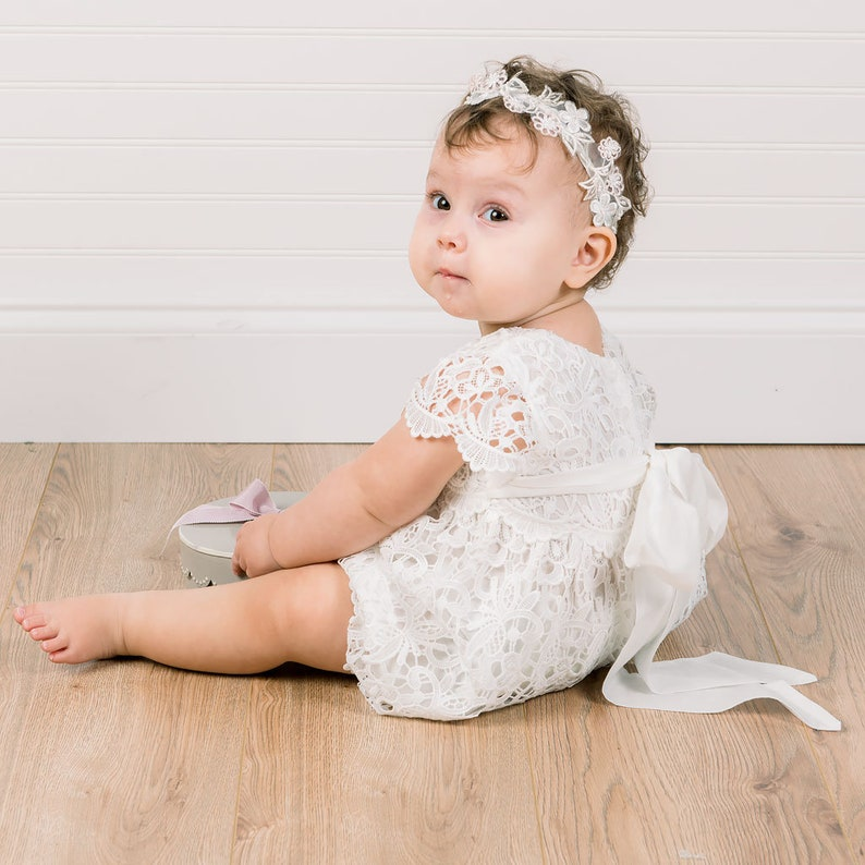 6ff4bed42 Lace Baby Romper 'Lola' Girls Christening Outfit   Etsy