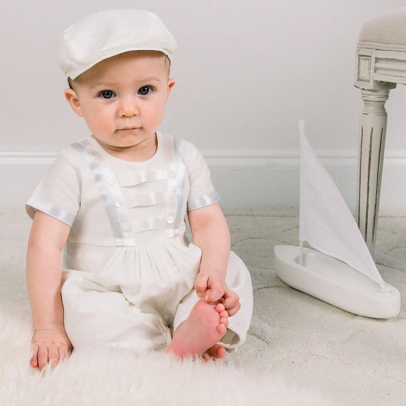 58fd88697 Baby Boy Ivory Linen Jumpsuit 'Owen' Boys Baptism | Etsy