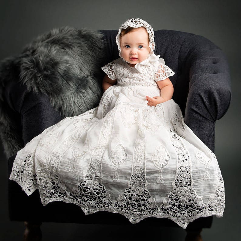 b7984b821737 Christening Gown Girl Lace  Grace  Lace Baptism Gowns