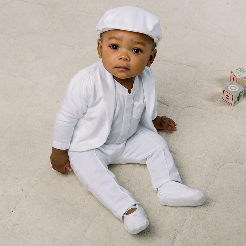 8e5dfe9f550dc Baby Boys Christening Suit 'Miles'   Boys Baptism & Christening Outfits    Boys Cotton Baptism Suit   White Cotton Baby Boys Baptism Outfit
