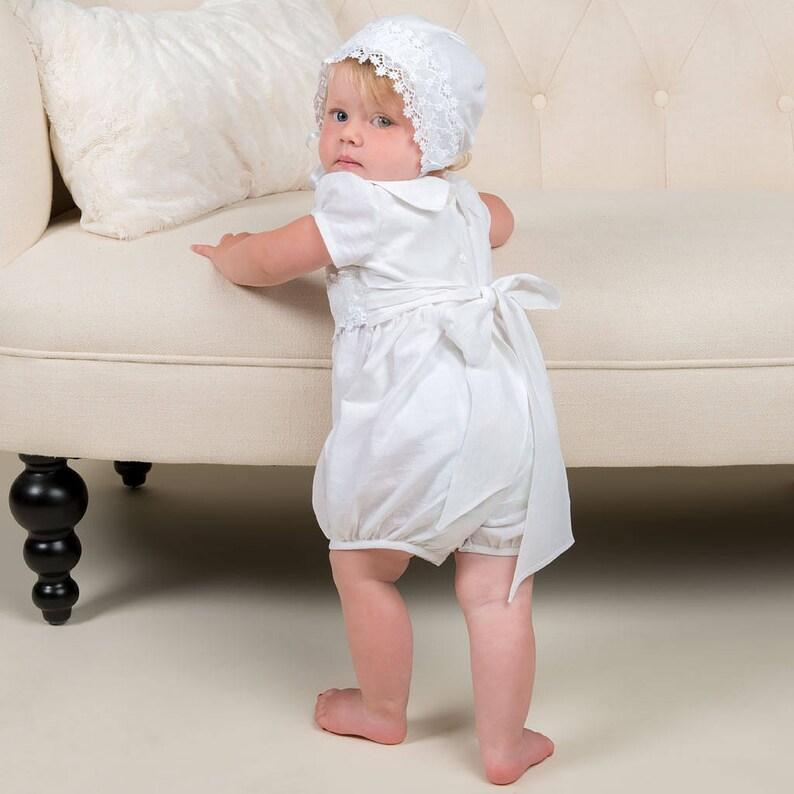 cfb3fe0c Baptism Gown Girl Romper Skirt 'Olivia' Linen | Etsy