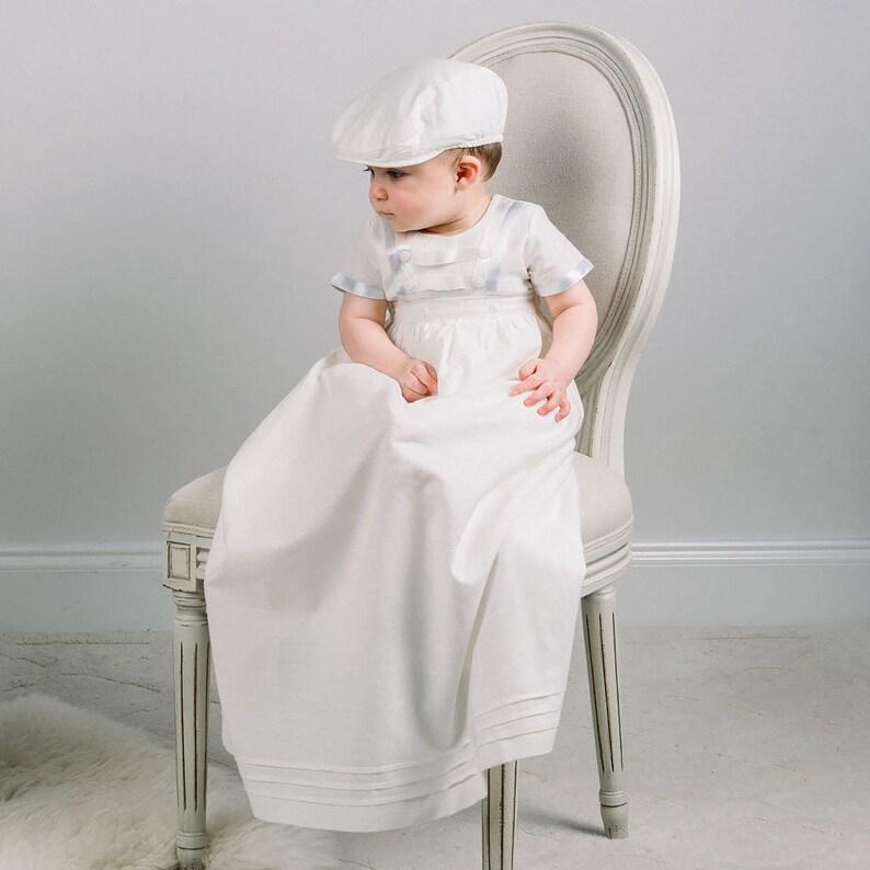 74f886a3d Baby Boys Baptism Gown 'Owen' Linen Boys Baptism | Etsy