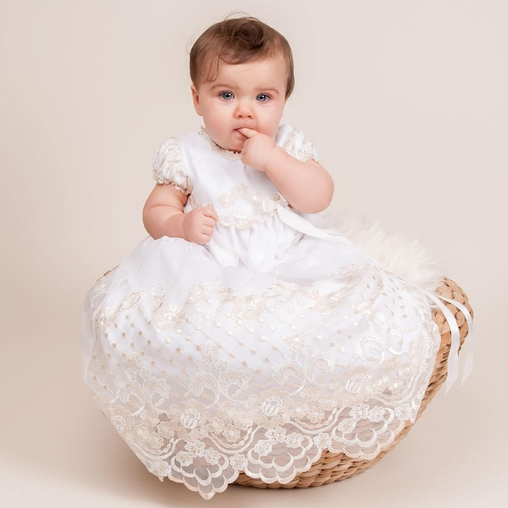Gwen Christening Gown Lace Baptism Gowns Baby Girl Blessing