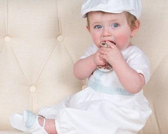 Finn Christening Jumpsuit, Boys Baptism Outfit, White Linen Baby Jumpsuit